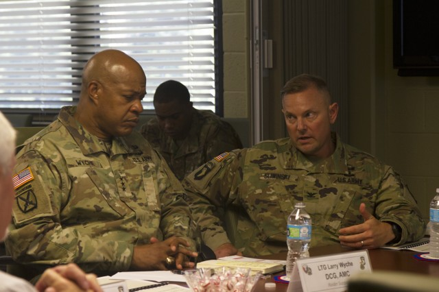 Col. Stanley Sliwinski (right), commander for the 101st Airborne Division Sustainment Brigade, discusses future logistic operations with Lt. Gen. Larry D. Wyche, deputy commanding general for United States Army Material Command, during Wyche's visit to Fort Campbell, Ky., Aug. 9, 2016. (U.S. Army photo by Sgt. Neysa Canfield, 101st Airborne Division Sustainment Brigade Public Affairs)