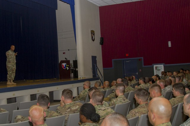 Lt. Gen. Larry D. Wyche, deputy commanding general for the United States Army Material Command, speaks to leaders about the importance of readiness during the leader professional development at Wilson Theater on Fort Campbell, Ky., Aug. 10, 2016. (U.S. Army photo by Sgt. Neysa Canfield, 101st Airborne Division Sustainment Brigade Public Affairs)