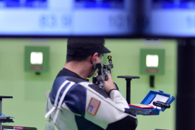 Spc. Daniel Lowe of the U.S. Army Marksmanship Unit shot to a 34th-place finish in the men's 10-meter air rifle competition August 8, 2016, at the Olympic Shooting Center in Rio de Janeiro, Brazil.