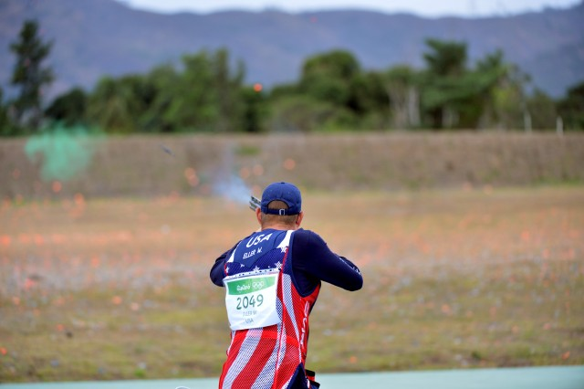 Sgt. 1st  Class Glenn Eller of the U.S. Army Marksmanship Unit shoots double trap August 8, 2016 at the Rio Olympic Games in Rio de Janeiro, Brazil. After four of five qualification rounds, Eller is in 14th place.