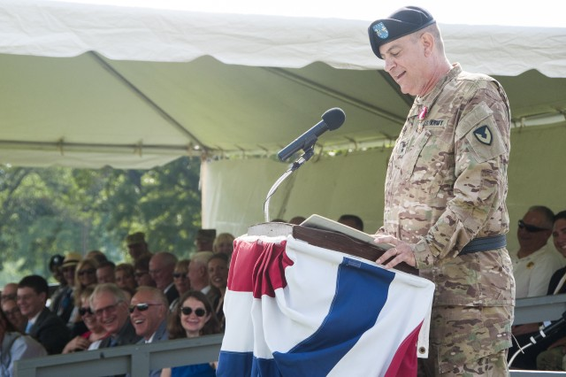 Retired Maj. Gen. Kevin O'Connell, former commanding general, U.S. Army Sustainment Command, speaks during the ASC's change of command ceremony on Memorial Field at Rock Island Arsenal, Illinois, Aug 11. O'Connell retired with 34 years of service during the event.