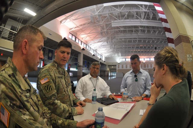 Undersecretary of the Army Patrick Murphy discusses the progress of significant Savannah District projects during a visit Aug. 11, 2016. Murphy embarked on a helicopter tour of the Savannah harbor as part of his visit to Fort Stewart and Hunter Army Airfield in Georgia. The Savannah District is responsible for maintaining the Savannah harbor and is in the process of deepening it an additional 5 feet to better accommodate larger, post-Panamax container ships, as part of the Savannah Harbor Expansion Project (SHEP).