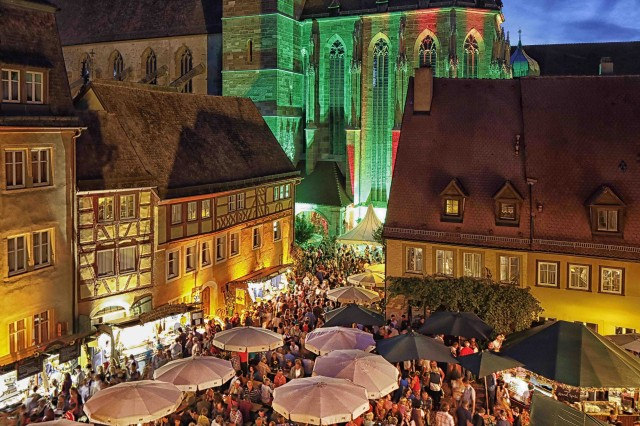 The town of Rothenburg ob der Tauber hosts a wine village every year.