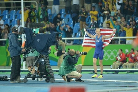 U.S. Army Reserve 2nd Lt. Sam Kendricks of Oxford, Miss.,wins the bronze medal in the men's pole vault with a mark of 5.85 meters at the 2016 Olympic Games, Aug. 15, 2016, in Rio de Janeiro, Brazil. Brazil's Thiago Braz de Silva took the gold with an Olympic record mark of 6.03 meters. France's Renaud Lavillenie claimed the bronze at 5.98 meters.