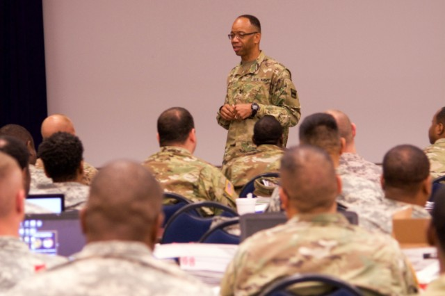 "CAMP ROBINSON, Ark. - Maj. Gen. A.C. Roper, commander of the 80th Training command, addresses participants of the command's safety workshop Aug. 11, 2016.  ""Safety is a leader's responsibility and we are all leaders regardless of the rank on our chests,"" Roper said.  ""It is incumbent upon us as leaders to make sure we do everything necessary to ensure our Soldiers, professional staff members, military technicians, and civilians return home to their families."""