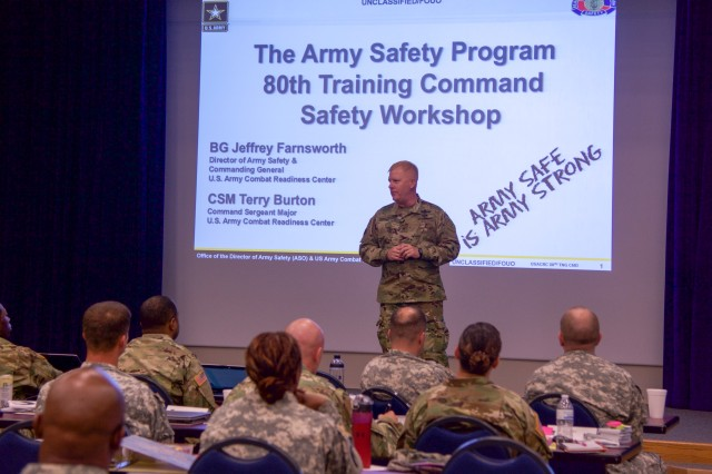 CAMP ROBINSON, Ark. -- Brig. Gen. Jeffery A. Farnsworth, director of Army Safety, and commanding general of the U.S. Army Combat Readiness Center provides his perspective on safety culture by emphasizing risk management and loss prevention during the 80th Training Command safety workshop held here Aug. 11, 2016.