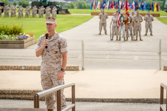 Marine Col. George Markert addresses the audience following his assumption of command as the Marine Detachment Fort Leonard Wood commanding officer.