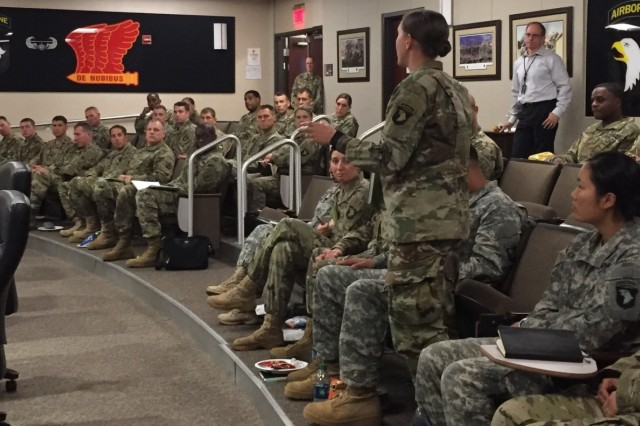 Maj. Gen. Thomas C. Seamands, commanding general of the Human Resources Command (HRC), meets with personnel managers and answers their questions during an HRC Road Show at Fort Campbell, Kentucky, Aug. 16. Seamands discussed key topics including force shaping, career management, and promotions.