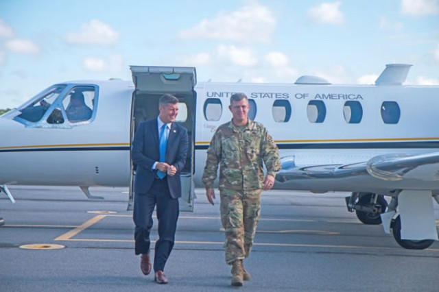 , 3rd ID Public Affairs The Under Secretary of the Army, Patrick J. Murphy, is greeted by 3rd ID Commander Maj. Gen. Jim Rainey, upon his arrival at Fort Stewart Aug. 10. This was Murphy's first visit to Fort Stewart-Hunter Army Airfield.