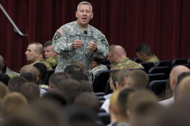 Maj. Gen. Christopher P. Hughes, Commander U.S. Army Cadet Command and Fort Knox speaks with Cadets from the 1st Regiment, Basic Camp at Olive Theater at the start of Cadet Summer Training.