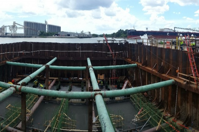 SAVANNAH, Ga. -- A panoramic view into the cofferdam at the down river dissolved oxygen injection system construction site, Aug. 17, 2016. Workers are pouring concrete for the foundation this week. Work began on the mitigation feature in February 2016 by CDM Constructors, Inc. Construction currently sits at 9 percent completion. Ongoing updates can be monitored at the Savannah Harbor Expansion Project site http://ow.ly/sjAU303os3s.