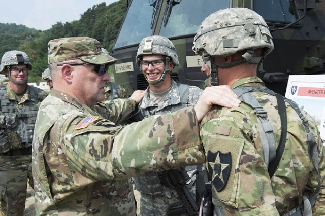 U.S. Army Chief of Staff, Gen. Mark A. Milley speaks with Soldiers from the 2nd Infantry Division during his visit to South Korea, August 18, 2016.