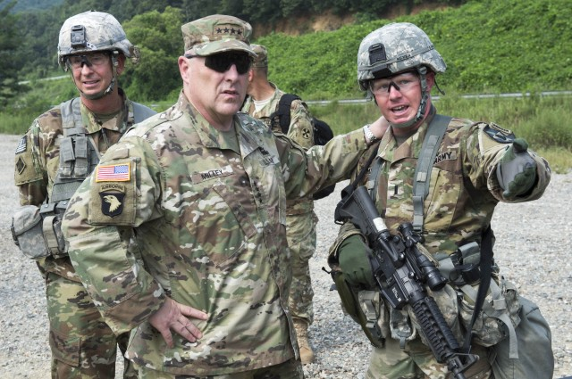 U.S. Army Chief of Staff, Gen. Mark A. Milley with Soldiers from the 2nd Infantry Division