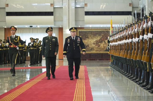 Welcome ceremony by China's People's Liberation Army for Gen. Mark A. Milley, Chief of Staff of the U.S. Army