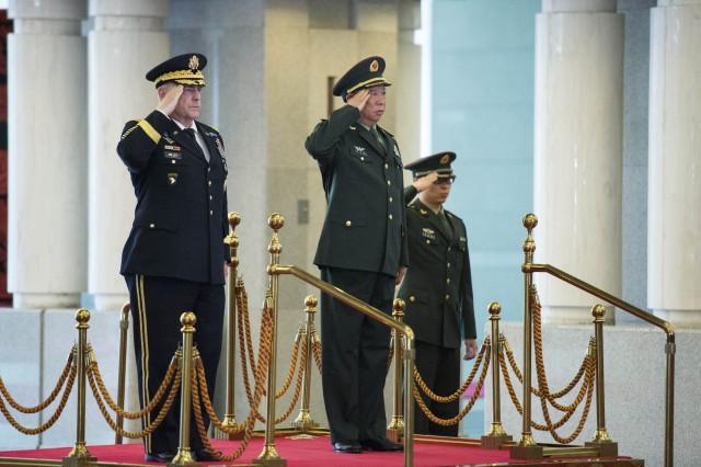 Gen. Mark A. Milley with Chinese counterpart Gen. Li Zuocheng