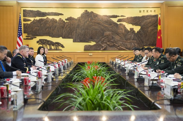 Gen. Mark A. Milley, Chief of Staff of the U.S. Army meets with Chinese counterpar, Gen. Li Zuocheng
