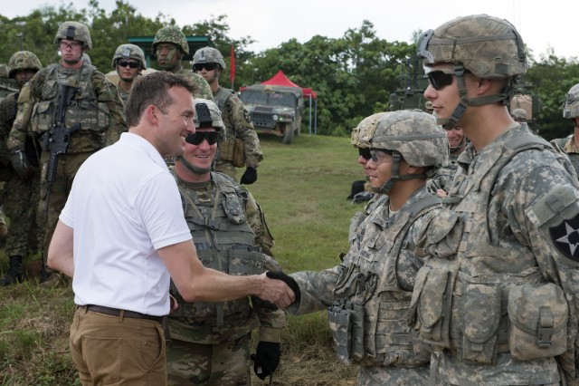 Secretary of the Army Eric Fanning meets with American Soldiers participating in an exercise in Malaysia, July 29, 2016.