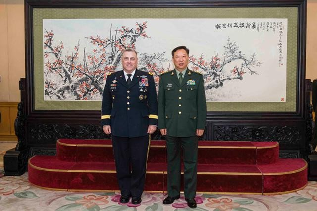 Gen. Mark A. Milley, U.S. Army Chief of Staff (left) and Gen. Li Zuocheng, People's Liberation Army ground force commander (right), pose for a photograph following their meeting in Beijing Aug. 16, 2016.