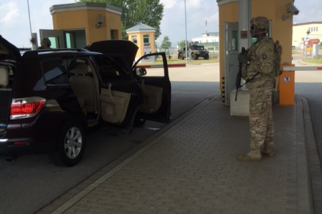 File photo of a vehicle inspection at U.S. Army Garrison Ansbach, Germany. Visitors to U.S. Army installations in Europe may experience delays as the installation begins employing new equipment with advanced detection capabilities.