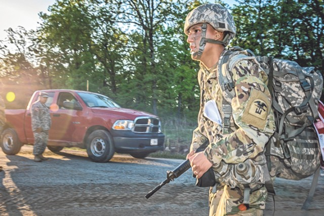 A Soldier from the 2016 MSCoE Best Warrior Competition takes part in the ruck march. The TRADOC Best Warrior Competition will take place on Fort Leonard Wood Sunday through Sept. 1 at various Fort Leonard Wood locations.