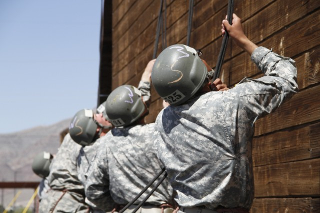 Army Soldiers belay for fellow students descending the tower at the at the Air Assault School at Fort Bliss, Texas, Aug. 19, 2016. The most recent air assault class graduated Wednesday, Aug. 24, 2016.
