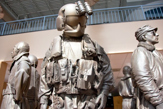 Museum visitors are greeted by a statuary depicting the various uniforms worn by Aviators throughout Army Aviation history.