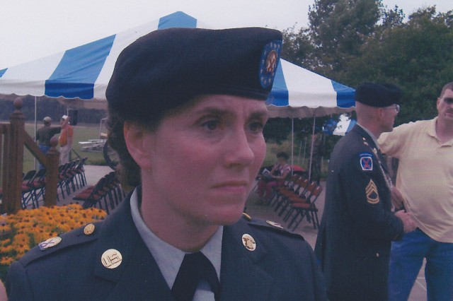 "Joyce Myers' final day in uniform is Sept. 29, 2004. She spent the day here at the 10th Mountain Division's ""Climb to Glory,"" at Fort Drum, N.Y."