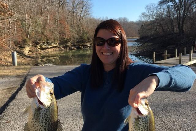 Joyce Myers reels in a good catch, January 2015.