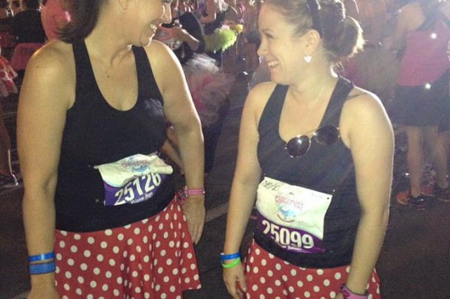 Joyce Myers with daughter Rachael Myers, at the Glass Slipper Challenge, which was a 10K race on Saturday followed by Half Marathon on Sunday, at Walt Disney World, Orlando, Fla., Feb. 28, 2014.