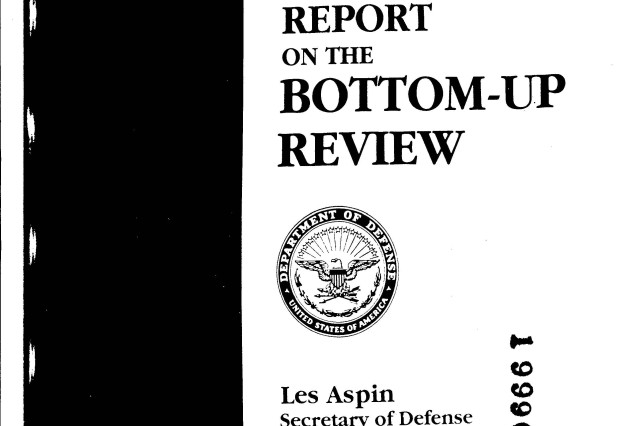The 108-page report on the Bottom Up Review was published in October 1993.