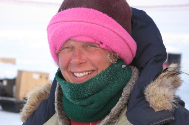 Dr. Jackie Richter-Menge in the field wearing her signature pink hat, a distinguishing feature when she is in the field. (Photo by Andrew Roberts, U.S. Naval Post Graduate School)