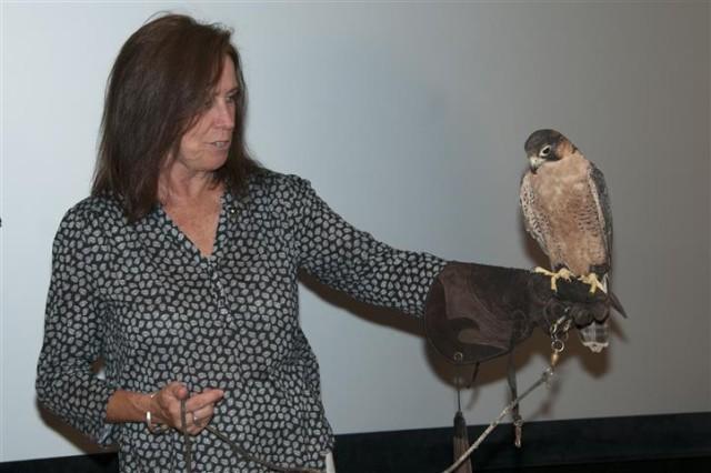 Secretary Darcy at the Birds of Prey exhibit