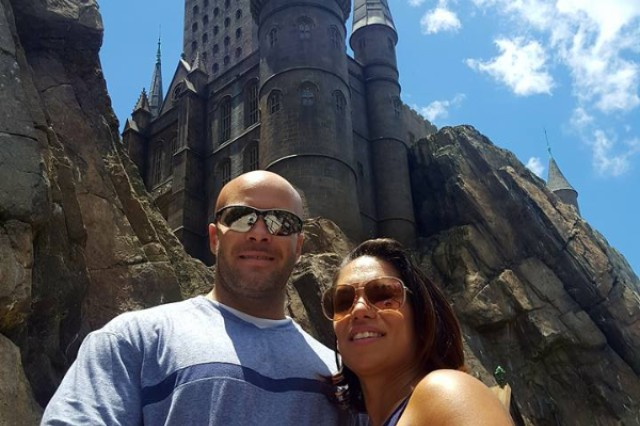 Chief Warrant Officer 3 Manuel Marrero and wife Mayda at Universal Studios, Orlando, Fla.