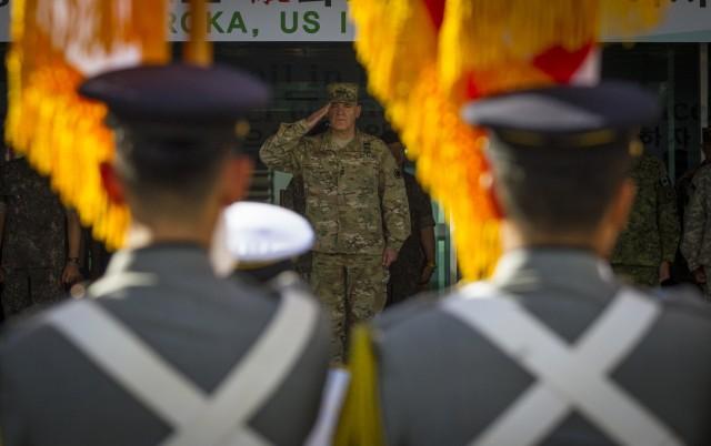 Lieutenant General Lanza salutes