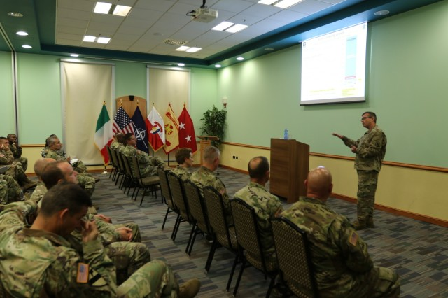 The Commander of U.S. Army Human Resources Command, Maj. Gen. Thomas Seamands, discusses professional development and current HRC manning initiatives with Vicenza Military Community leaders in command positions, Aug. 29, 2016 at the Caserma Ederle Reel Time Theater, Vicenza, Italy. Seamands' visit was one of many scheduled destinations on a tour of military installations throughout Europe, known as the HRC Road Show. The discussion provided HRC with feedback on how policies affect Soldiers and also served as an opportunity for HRC to dispel rumors. (U.S. Army photo by Staff Sgt. Lance Pounds - 160829-A-BP709-081)