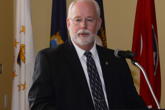 Donald E. Smith Dugway's (now former) garrison manager speaks during the Change of Leadership ceremony August 30, 2016 at the Community Club in English Village at U.S. Army Dugway Proving Ground, Utah.  Smith spearheaded a number of large projects that modernized the installation's facilities and operations including new street lights, a recreational vehicle park, a new police department building, progressive heat pump meters, a new swimming pool, and a 7.7 million solar array were highlighted as among Smith's efforts. Smith also acted to provide progressive wildland firefighting gear and a remote automatic weather station. Photo by Bonnie A. Robinson / Dugway Public Affairs Office.