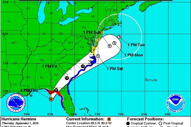 The National Oceanic and Atmospheric Administration (NOAA) predicts Hurricane Hermine will threaten parts of Florida, Georgia, South Carolina and North Carolina.