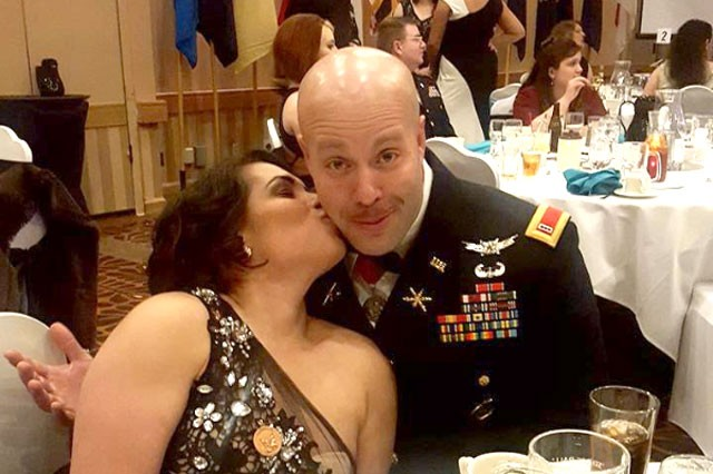 Chief Warrant Officer 3 Manuel Marrero and wife Mayda at the 2016 Space Battalion Ball in Colorado Springs, Colo.