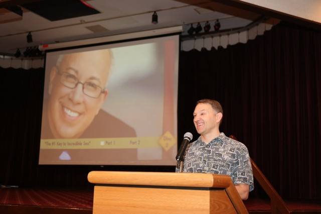 "Chaplain (Lt. Col.) Thomas McCort, chaplain for USAG Japan, gives opening remarks to participants during the married couple's seminar ""How to Laugh Your Way to a Better Marriage"" held Sept. 2-3 at Camp Zama Community Club. (U.S. Army photo by Lance D. Davis)"