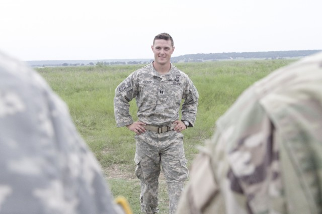 "Capt. William Fuller, the commander of the Delta Company, 52nd Infantry Regiment (Long Range Surveillance), talks to his Soldiers after their last jump on Rapido Drop Zone Sept. 1, 2016, at Fort Hood. He described this day as bittersweet as he spoke to his Soldiers. ""It was an honor to serve in this unit, but this is a very sad day because this is the last jump before the unit's deactivation,"" said Fuller."