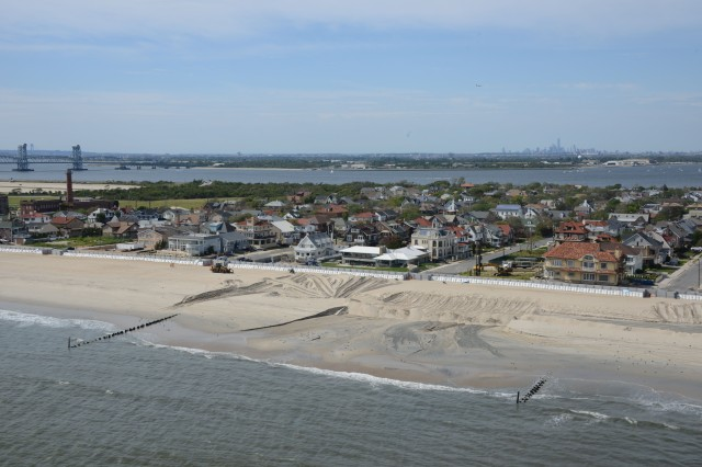 Sand replenishment work taking place on Rockaway Beach, New York. Credit: USACE.