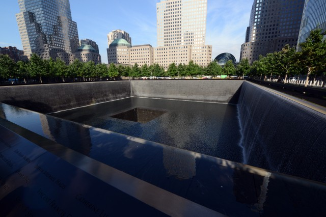 At the World Trade Center complex in New York City, this fountain and another one just like it mark the footprints of the two towers that fell on Sept. 11, 2001 as a result of the terrorist attack that took place that day.