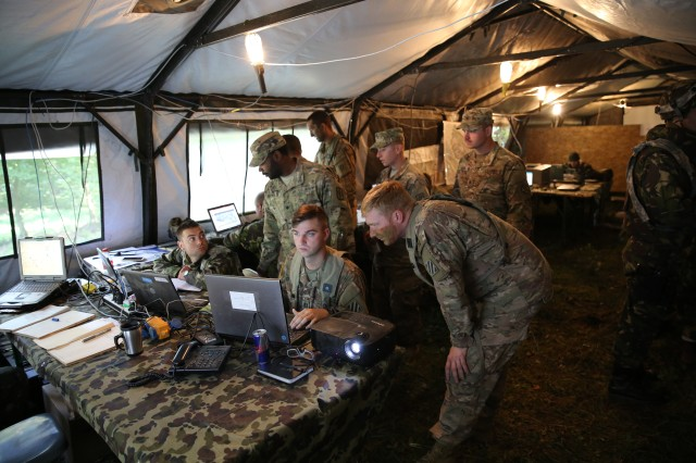 U.S. Army Soldiers from the 44th Expeditionary Signal Battalion, 2nd Signal Brigade, and South Carolina National Guard Soldiers from the 151st Expeditionary Signal Battalion, 228th Signal Brigade provide communications and network support to U.S. and multinational forces during exercise Combined Resolve VII in Hohenfels, Germany, Sept. 7, 2016.