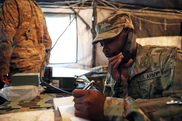 Spc. Darnell Brown, a South Carolina National Guard Soldier from the 151st Expeditionary Signal Battalion, 228th Signal Brigade, provides communications and network support to U.S. and multinational forces during exercise Combined Resolve VII in Hohenfels, Germany, Sept. 7, 2016.