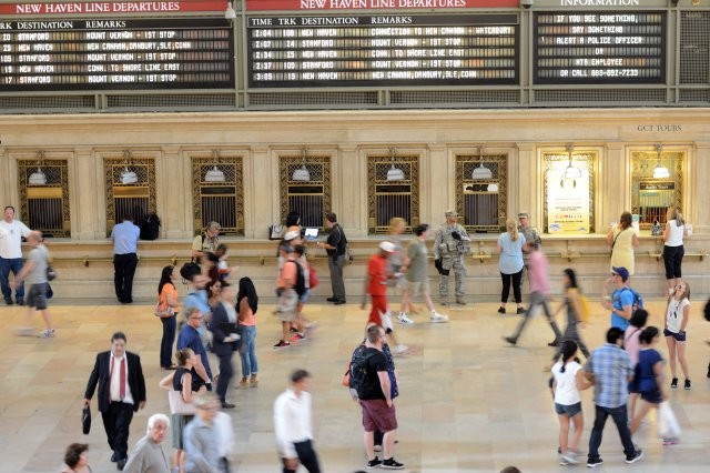 Two Soldiers with Joint Task Force Empire Shield stand guard in Grand Central Station, in New York City, Aug. 17, 2016.  Their mission is to detect and deter terrorism.