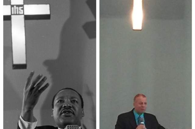 Chaplain (Col.) Kenneth R. Sorenson, right, command chaplain, U.S. Army Space and Missile Defense Command/Army Forces Strategic Command, preaches at the Dexter Avenue King Memorial Baptist Church in Montgomery, Alabama, April 17. The photo shows a side-by side comparison of Sorenson preaching from the same pulpit as Dr. Martin Luther King Jr. King accepted the call to the pastorate of the then Dexter Avenue Baptist Church, as its 20th pastor, on May 14, 1954.