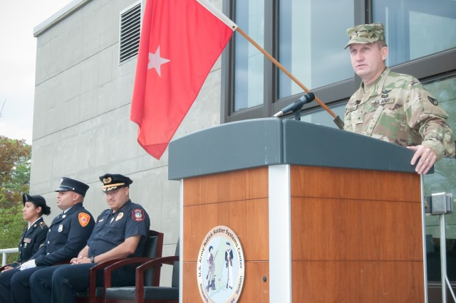 Brig. Gen. Thomas H. Todd III, senior commander, speaks Sept. 9 at the ceremony marking the 15th anniversary of 9/11 at the Natick Soldier Systems Center.