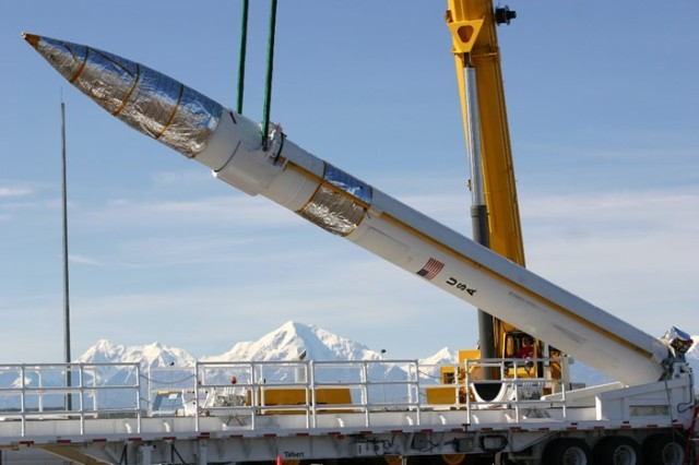 Groundbased Interceptor being emplaced at the Missile Defense Complex, Fort Greely, Alaska in July 2006. (US Army National Guard Photo/Released).