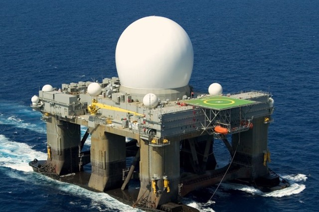 Sea-based X-Band Radar at sea under it's own power July 17, 2005. (Photo Courtesy Missile Defense Agency/Released)