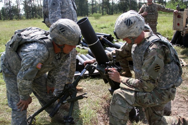 Soldiers of 3rd Battalion, 7th Infantry Regiment, 2nd Infantry Brigade Combat Team, 3rd Infantry Division, calibrate a sight on an M120 mortar system at Fort Stewart, Ga., Sept. 9, 2016.  Mortarmen of 3-7th Inf., supported 3rd Infantry Division Sustainment Brigade during their Provider Leaders Stakes by providing fire support and hands-on mortar system training. (U.S. Army photo by Spc. Jose Rivera / Released)